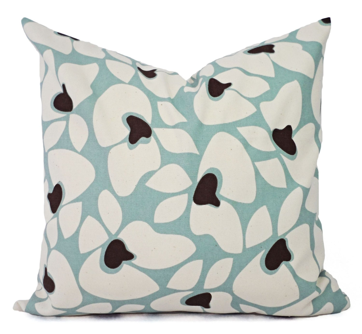 Spa Blue Pillow Covers 2 Floral Decorative Pillow Covers