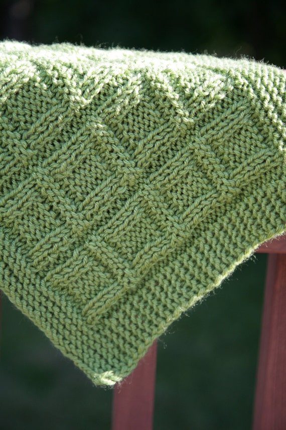 Green Mama Squares - baby blanket/ afghan - textured- knit / knitting PATTERN...