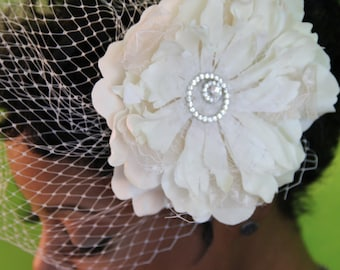 "Ivory Convertible birdcage veil.  Can be worn as fascinator or birdcage straight across. ""Bree"""