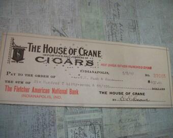 1917 Original House of Crane Cigars Canceled Check