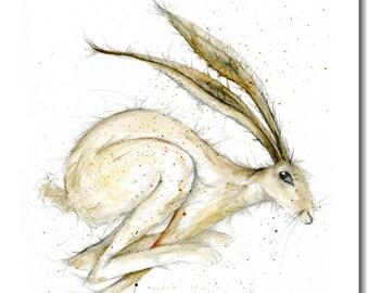 Running Hare Greeting Card - Blank Inside, Woodland Animal Birthday Card