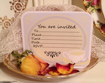 Yellow Teacup Tea Party invite. Digital Download Invitations