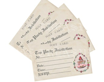 Vintage Style Postcard Tea Party Invitation Digital Download