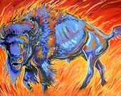 Original acrylic on canvas painting ' Lord of the Prairie' buffalo bison