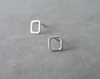 Geometric Square Stud Earrings Sterling Tiny Squares Minimalist Earrings Modern Jewelry