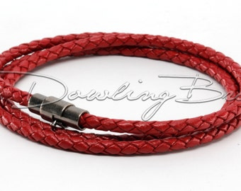 Dark Red Braided Genuine Leather Triple Wrap Bracelet