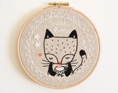 "MADE TO ORDER Embroidery Hoop Wall Art 'Milk Time  Kitty Cat' - Textile Artwork on Natural Linen - 6"" hoop"