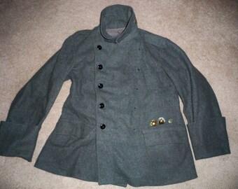 Vintage World War 2 WWII Swedish Sweden Wool Tanker Field Cuff Uniform Jacket Pea Coat Size 40