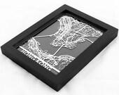 """Hong Kong China Stainless Steel Laser Cut Map - 5x7"""" Framed   Wall Art"""