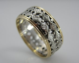 Wide Filigree Wedding Band in Yellow and White Gold, Vintage Z60LAE-P