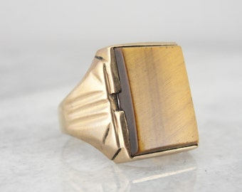 Vintage Mid Century Retro Tiger's Eye Ring for Man or Woman ENP593-D