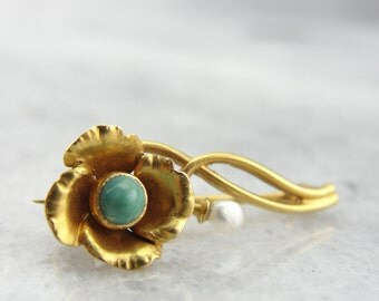 Sweet Vintage Flower Pin with Turquoise and Pearl 1CF66U-P