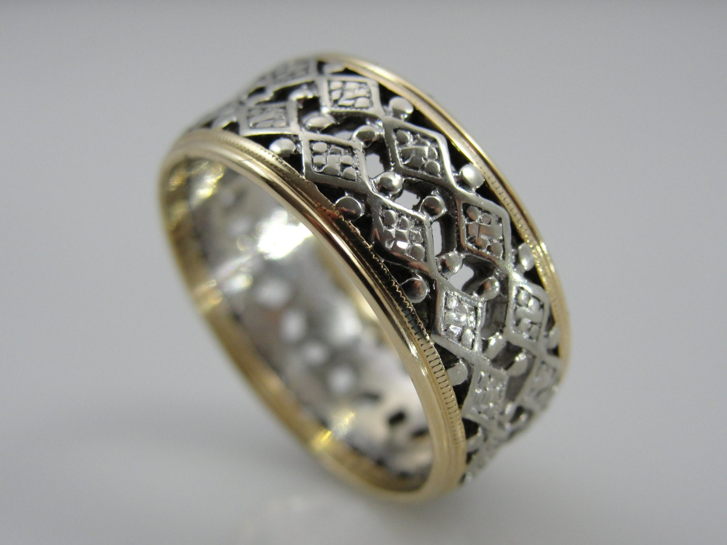 Wide Filigree Wedding Band In Yellow And White Gold Vintage