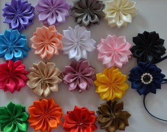 Satin Ribbon Flowers ribbon flower, hair clip embellishment ,  decoration