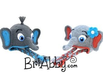 Crochet Elephant Hat Pattern (PDF FILE)