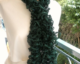 Ruffle scarf with sequins-Green scarf-Frilly scarf-Green ruffle scarf with sequins-Sparkle scarf