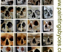 Original Skull Collection by CES - 29 Paintings Halloween Dead Dark Arts Scary Outsider Low Brow Collectible EBSQ Art