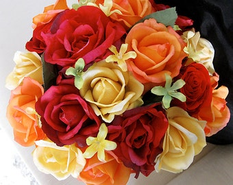 Fall Wedding Natural Touch Orange Red and Yellow Roses Silk Flower Bride Bouquet - Almost Fresh