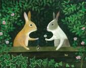 "Art Print of an Original Animal Painting: ""The Love Tokens"""