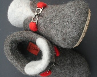 Felted slippers kids US 9 (Inches 6) EU 26 - SALE