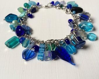 Blue/Aqua Beaded Charm Bracelet