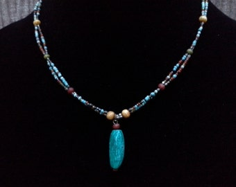 Real Turquoise and Semiprecious Stones Necklace: Vintage Jewelry, Vintage Necklace