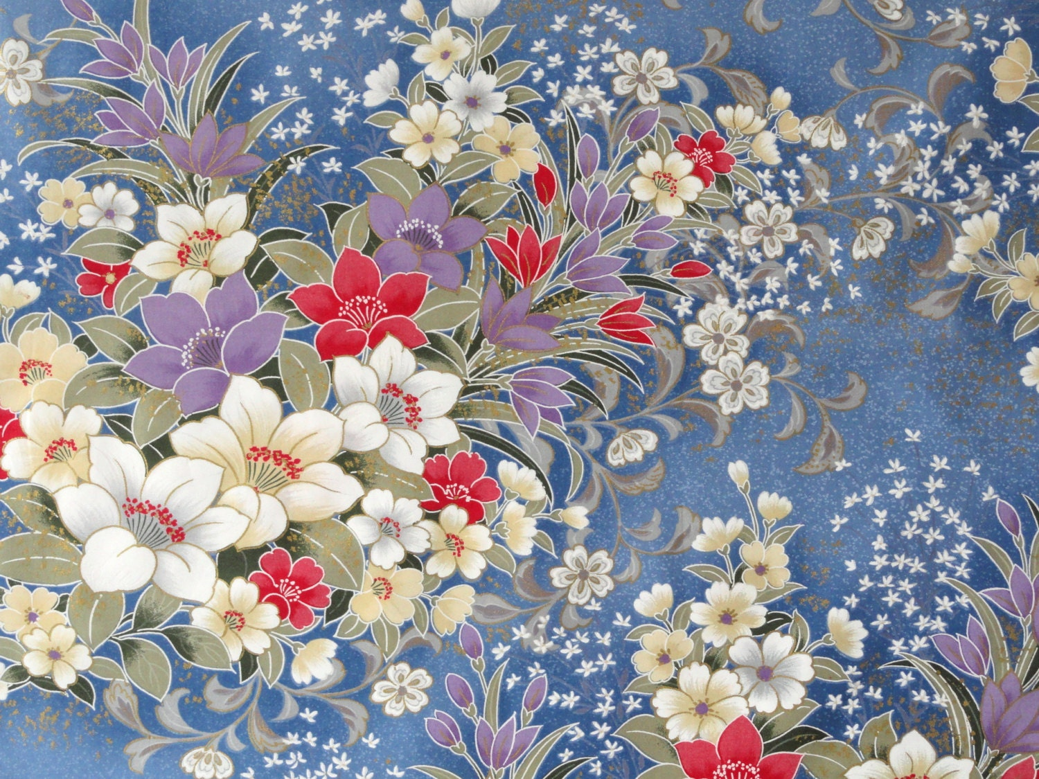Japanese Floral Fabric Large Floral Print Blue by ...