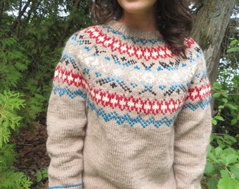 women's handknit tan Nordic style sweater