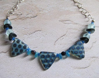 Light and Airy Blue Dot Necklace