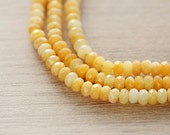 40 pcs of Natural Jade Dyed Yellow Abacus Faceted Beads - 4 - 5 mm