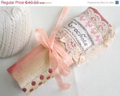 ON SALE Crochet Hook Case - Vintage Silk Clothes Holder, ready to ship