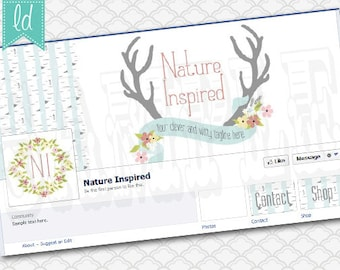 Facebook Cover Photo Set Facebook Timeline - Cover Photo, Profile Picture, and Two Tab Icons Antlers Nature Natural Wood
