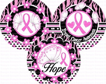 Breast Cancer Awareness (4) Bottle Cap Images 4x6 Bottlecap Collage Scrapbooking Jewelry Hairbow Center