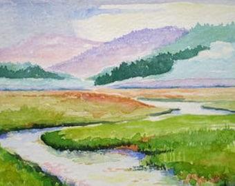 Wetlands on the Edge of Rain Original Watercolor Painting