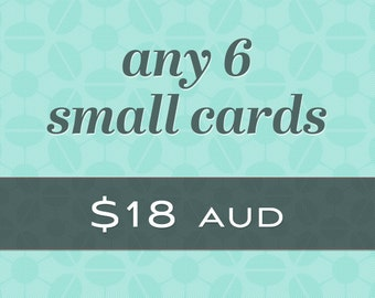 Small Gift Cards 6 Pack - any 6 cards (86mm x 86mm )