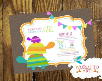 CUSTOM Turtle Baby Shower Invitations- Boy or Girl-