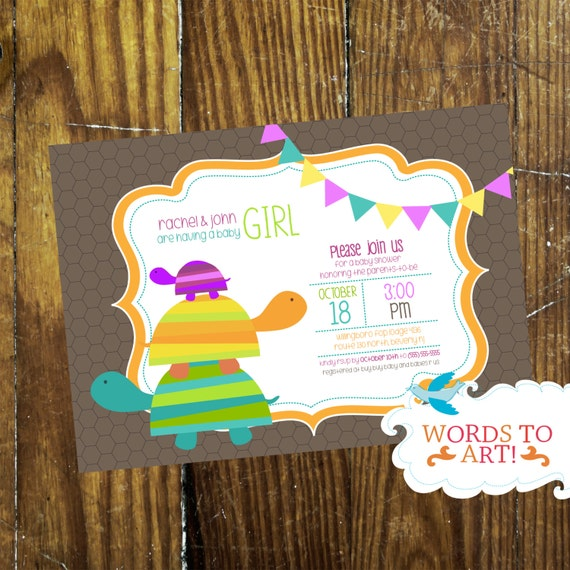 Custom Turtle Baby Shower Invitations Boy Or Girl By Words To Art