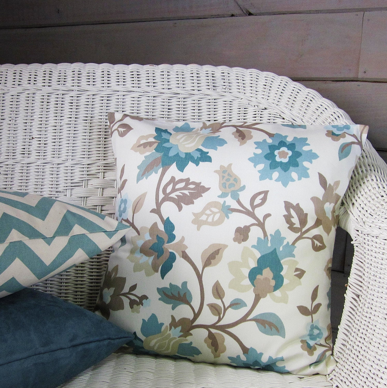 Seafoam Blue Decorative Pillows : Teal Aqua Seafoam Pillow Cover Taupe Floral Home Decor