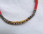 Friendship bracelet statement necklace with rhinestones