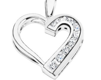 Sterling Silver Traditional Heart Shaped Pendant Charm with Cubic Zirconia