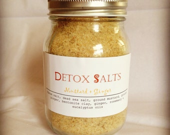 DETOX BATH SALTS (mustard+ginger) 16 oz - Total body detoxification + Gift With Purchased