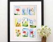 Original Watercolor Print - Field flowers. Print of colorful flowers.