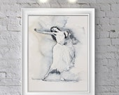 Watercolor Print . Wall art of ballerina in black and white.