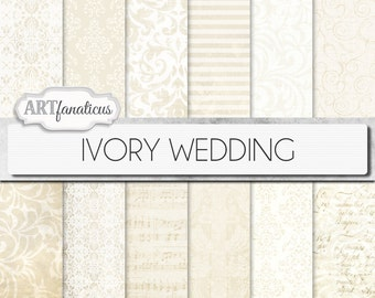 "Ivory wedding papers ""IVORY WEDDING"" elegant ivory wedding paper featuring damask, lace, stripes, musical sheet, floral patterns, and more"