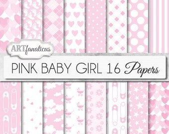 "Baby girl papers ""PINK BABY GIRL"" white and pink background, diaper pin, pink hearts, gingham, clouds, footprints, carriage, daisies"