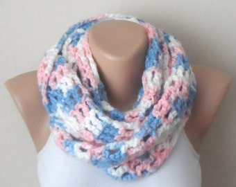 multicolor knit infinity scarf  blue pink white circle scarf crochet scarf
