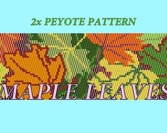 Pattern for beaded peyote bracelet with maple leaves - beading scheme