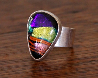 Multi color Dichroic Sterling Silver Statement Ring, size 9