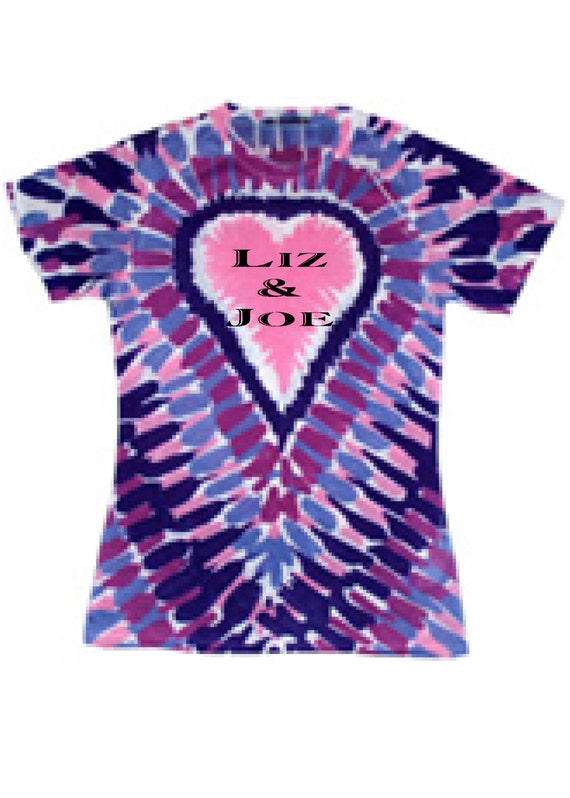 Personalized heart tie dye shirt for Customized tie dye shirts