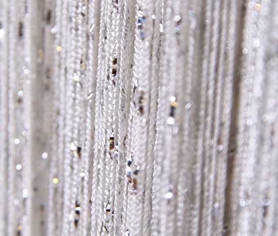 white with silver metallic thread curtain by colorpan on Etsy